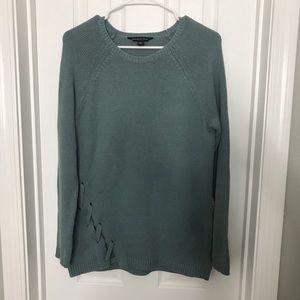 Rock & Republic Blue Green Sweater Tie Detail